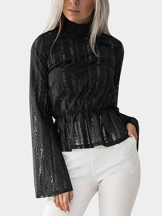 Black Lace Details Mock Neck Flared Sleeves Semi Sheer Blouse zip back fit and flared plaid dress
