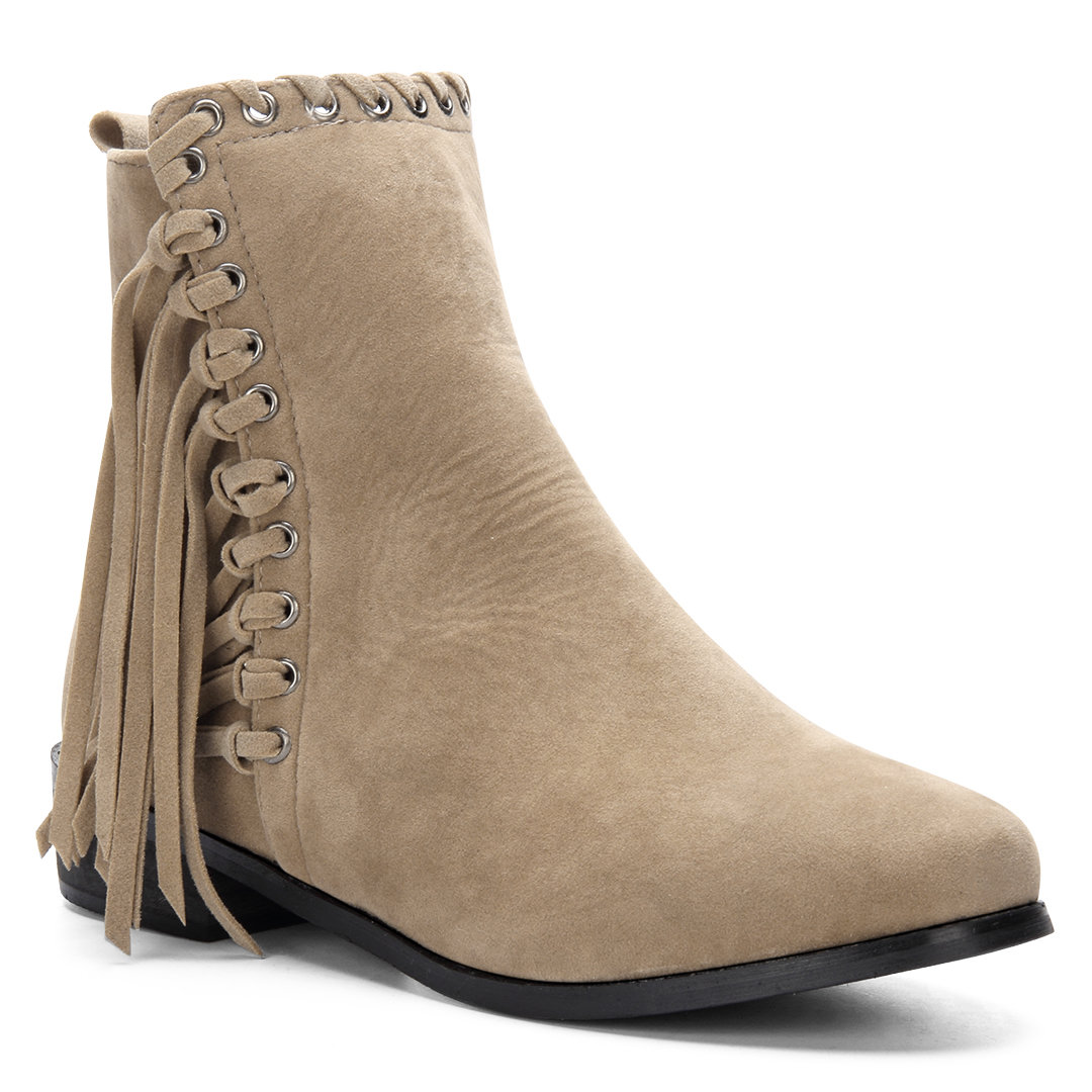 Apricot Suede Tassel Embellished Short Boots with Zipper Design