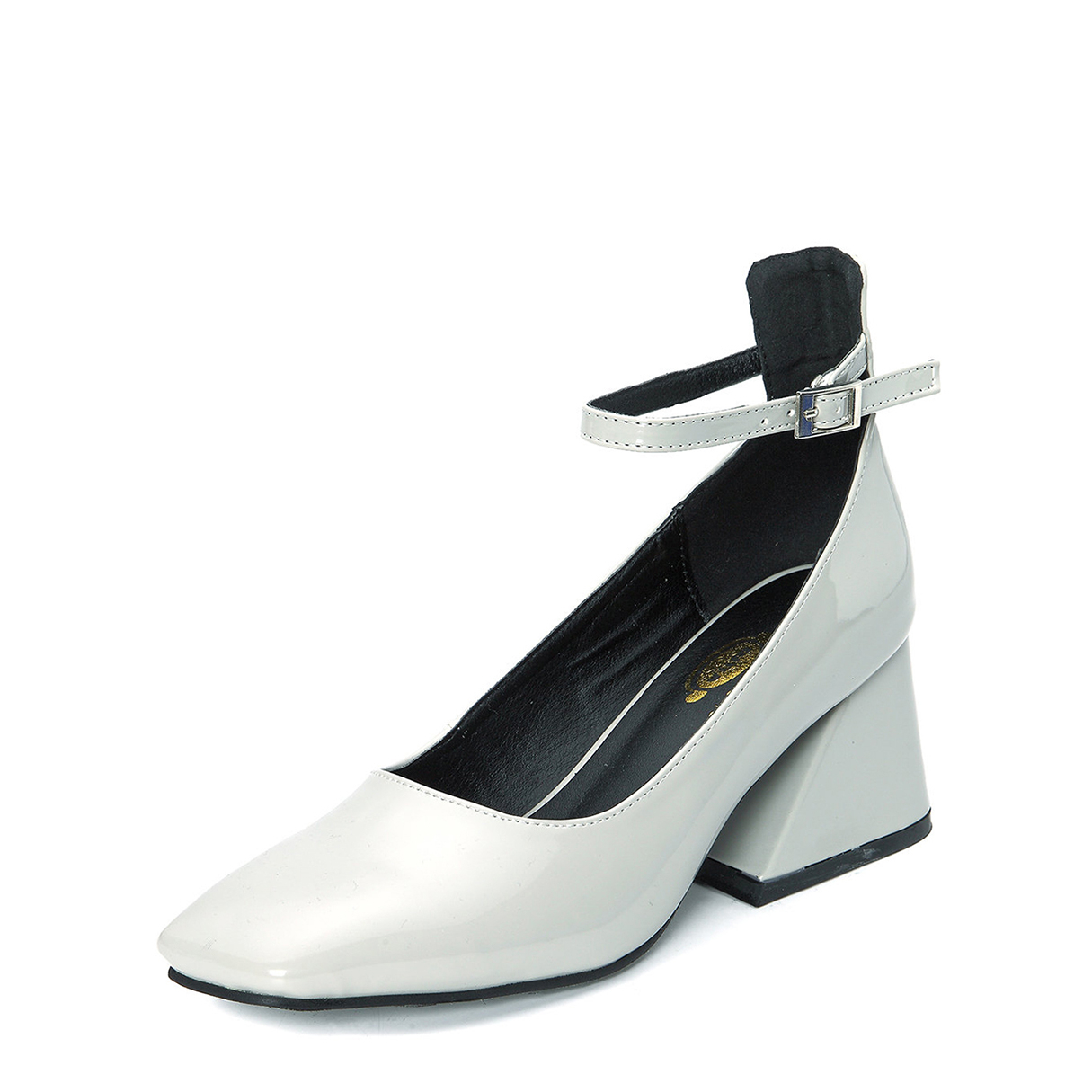 Grey Patent Leather Square Toe Chunky Heels