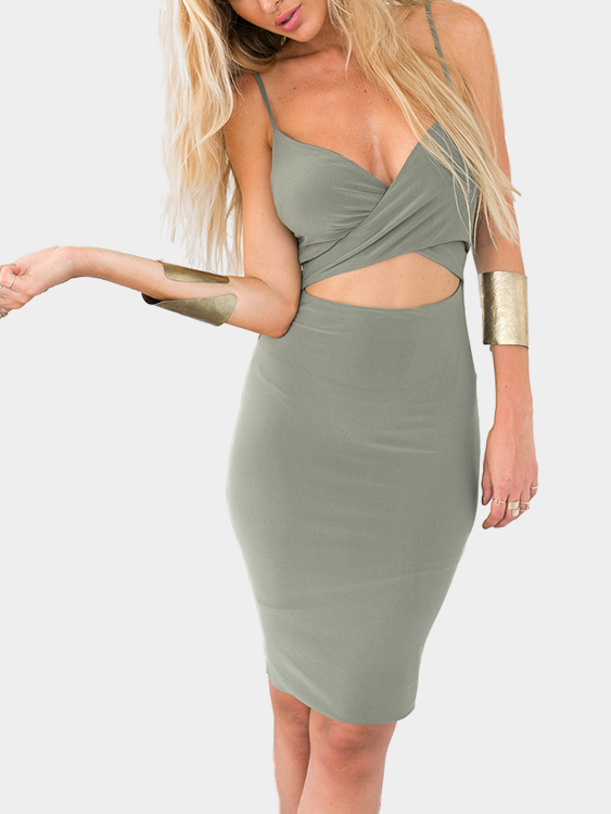 Wrap Front Sleeveless V-neck Mini Dress cut out detail fit and flared sleeveless dress