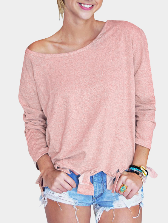 Pink Plain Round Neck Long Sleeves Tassel Hem T-shirts white pleated design round neck long sleeves t shirts