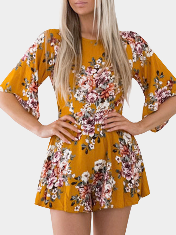 Yellow Floral Print Backless Design Half Sleeves Playsuits