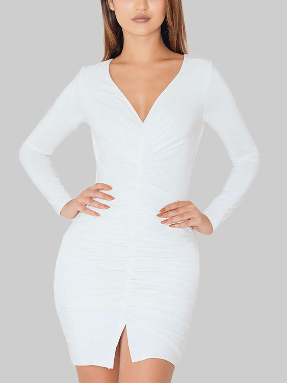 White Pleated Design Deep V-Neck Bodycon Mini Dresses deep v neck fit