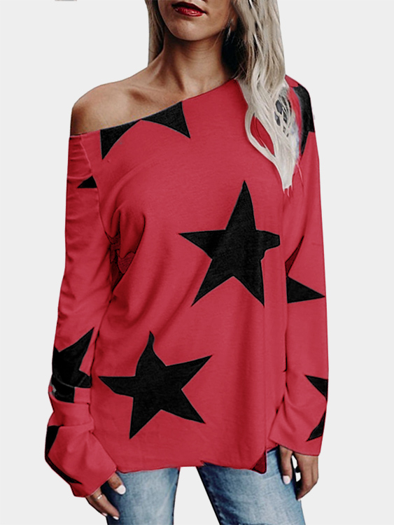 Red Star One Shoulder Long Sleeves T-shirt