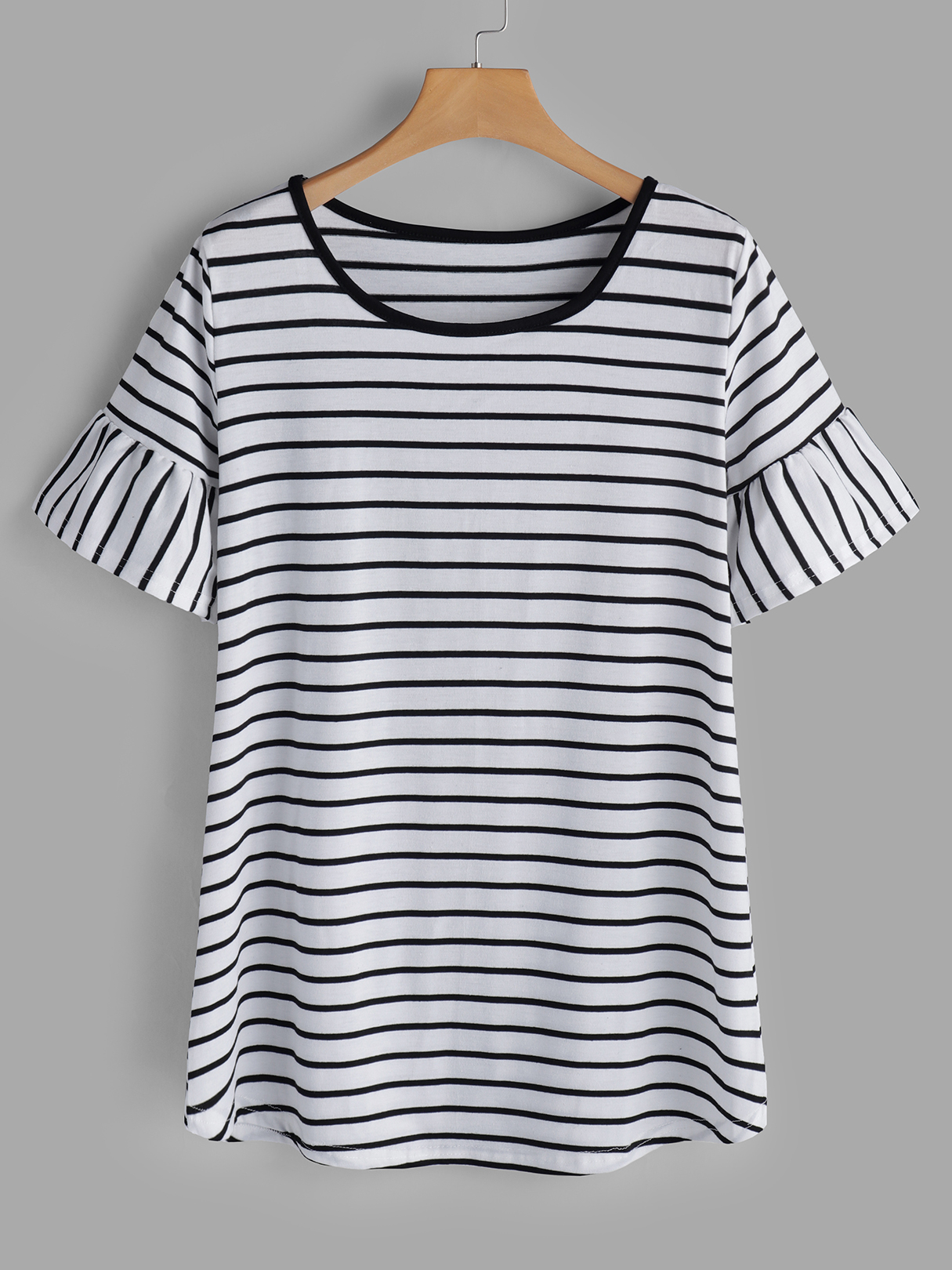 Black Stripe Round Neck Short Sleeves T-shirts cut and sew mixed stripe t shirt