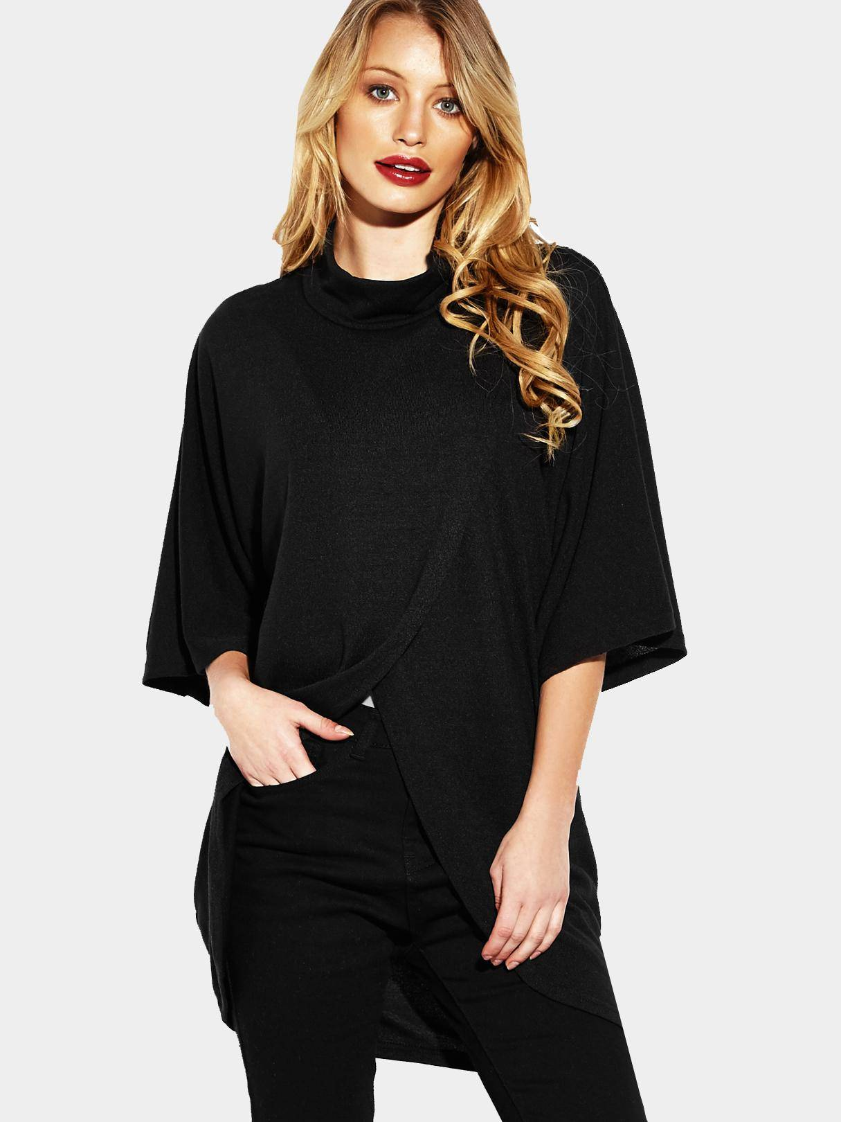 Black Fashion High Neck Irregular Hem Jumper