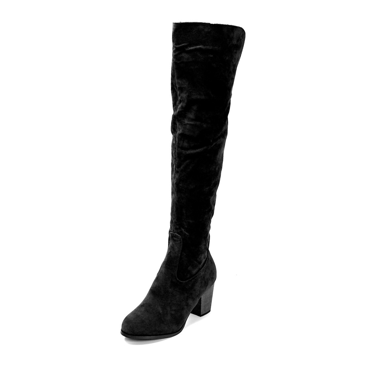 Black Nubuck Leather Over The Knee Boots