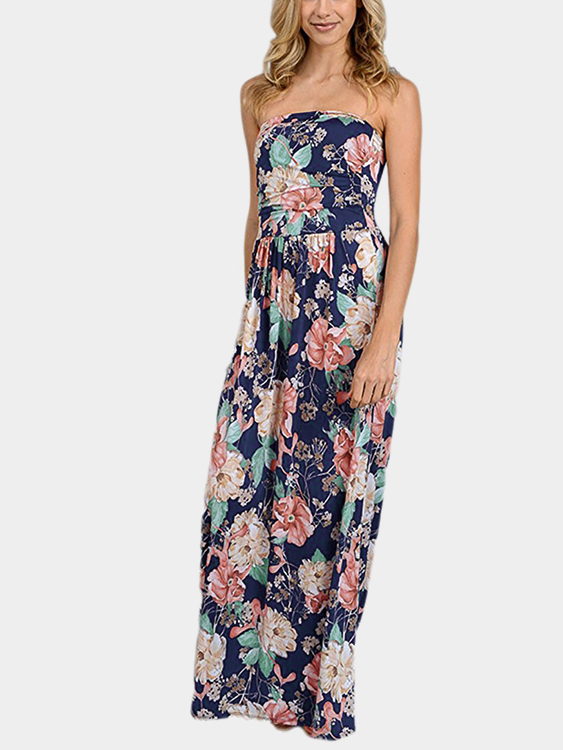Blue Random Floral Print Off Shoulder Backless Dress