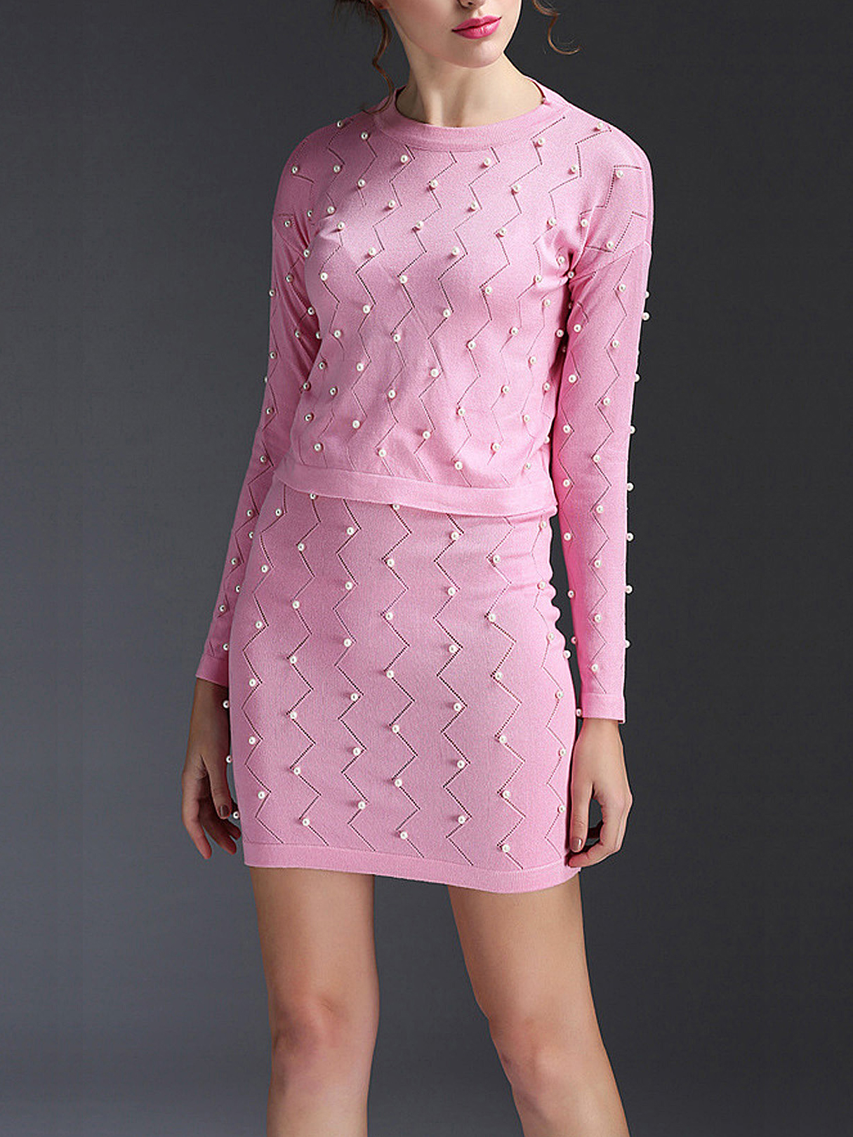 Pink Wave Beaded Knitted Suit the wave