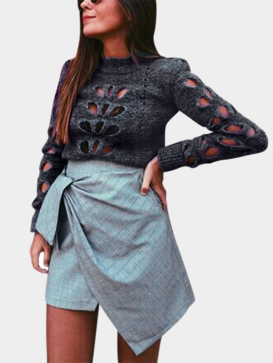 Grey Sexy Chimney Collar Hollow Out Jumper