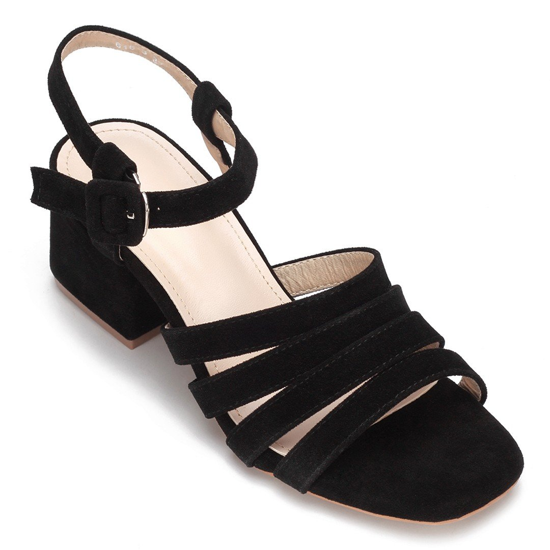 Black Suede Look Straps Across Block Heel Sandal