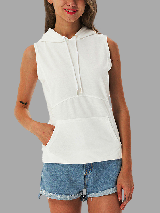 White Casual Sleeveless Hooded Top white casual sleeveless hooded top