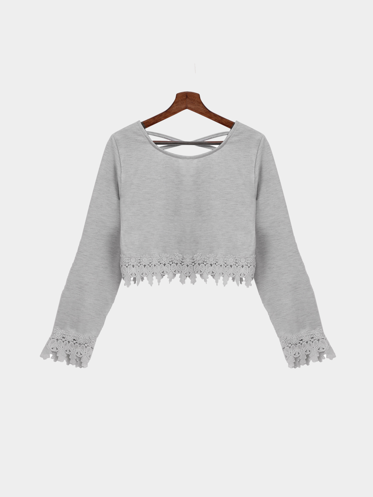 Light Gray Lace Crop T-Shirt  With Cross Back Details