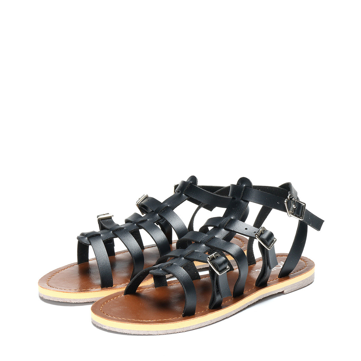 Black Strappy Buckle Design Flat Sandals