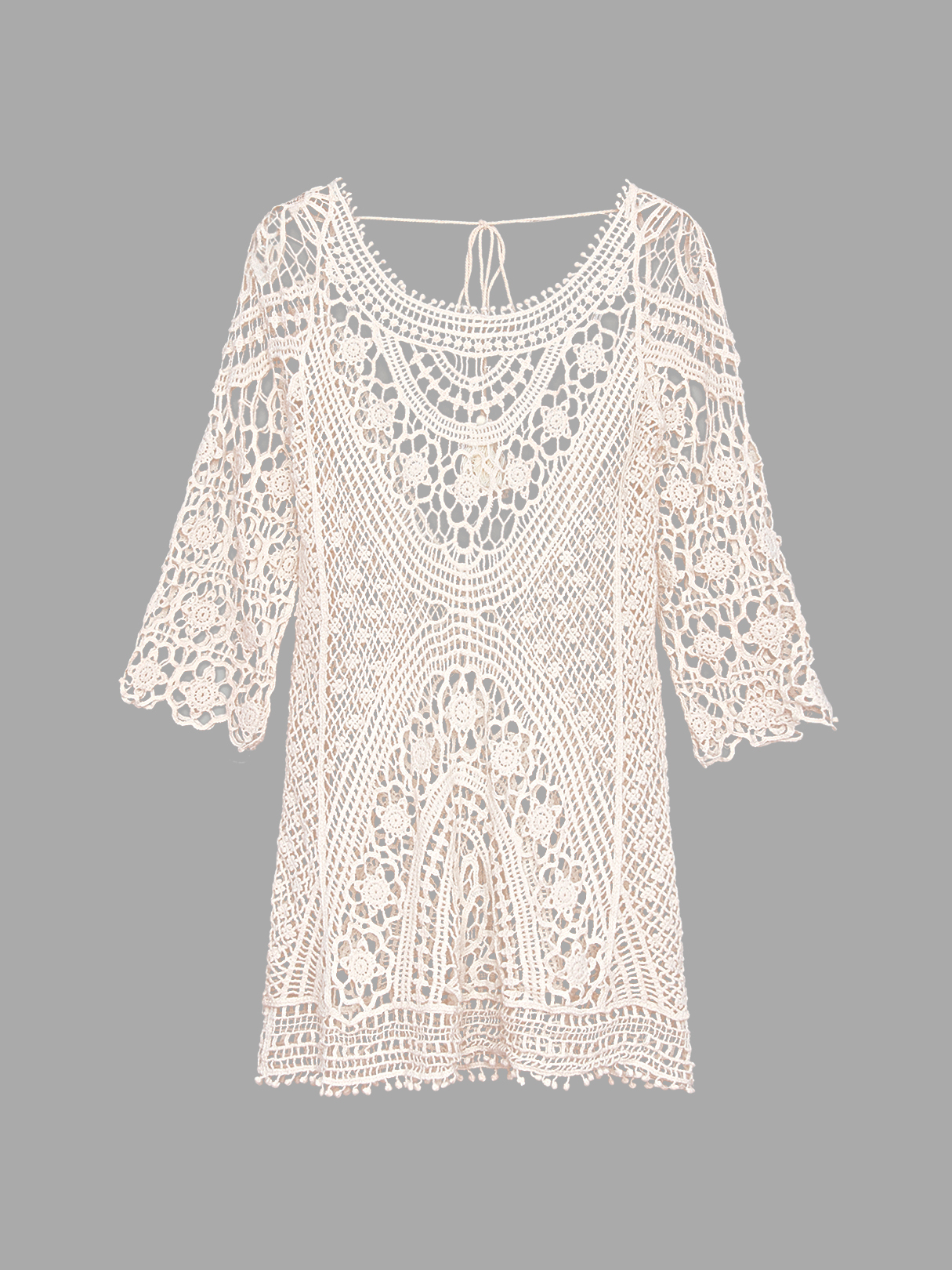 Beige Tassel Lace-up Crochet Hollow Lace Beachwear