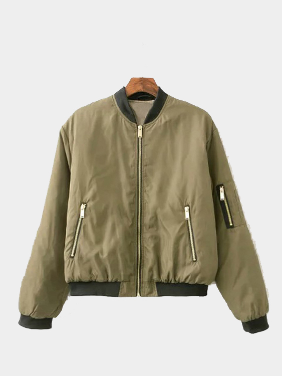 Army Green Military Quilted Jacket black military quilted simple jacket