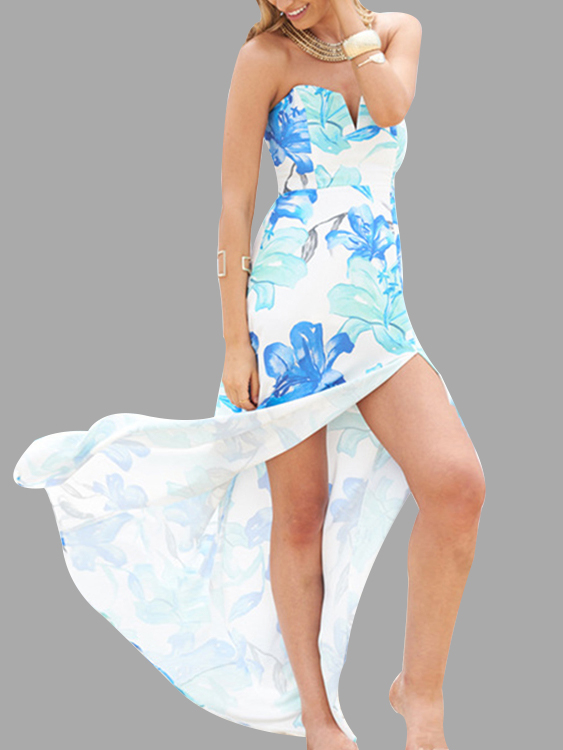 Blue Fahion Tube Random Floral Print Splited Hem Maxi Dress