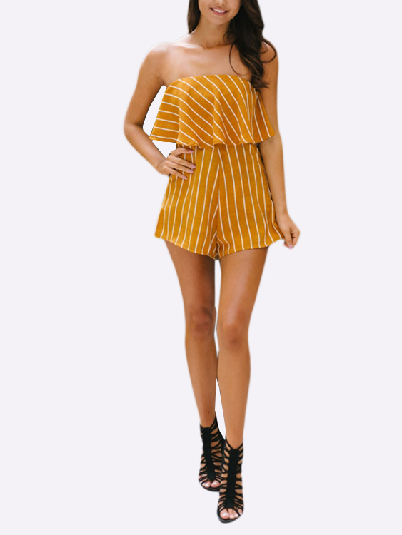 YOINS / Off The Shoulder Stripe Pattern Layered Design Playsuit