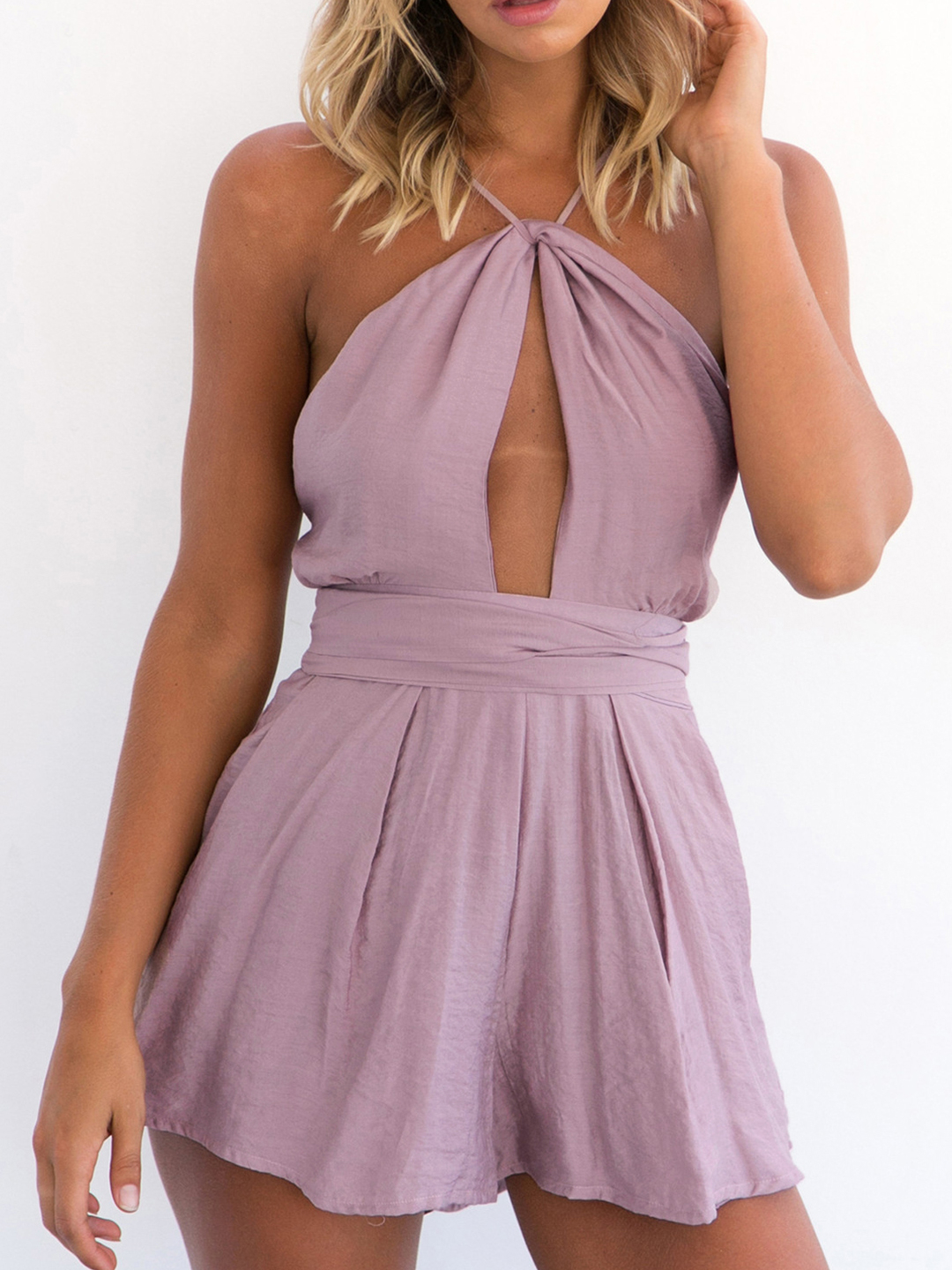Purple Sexy Cut Out Backless Playsuit with Self-tie Design navy v neck cut out self tie playsuit