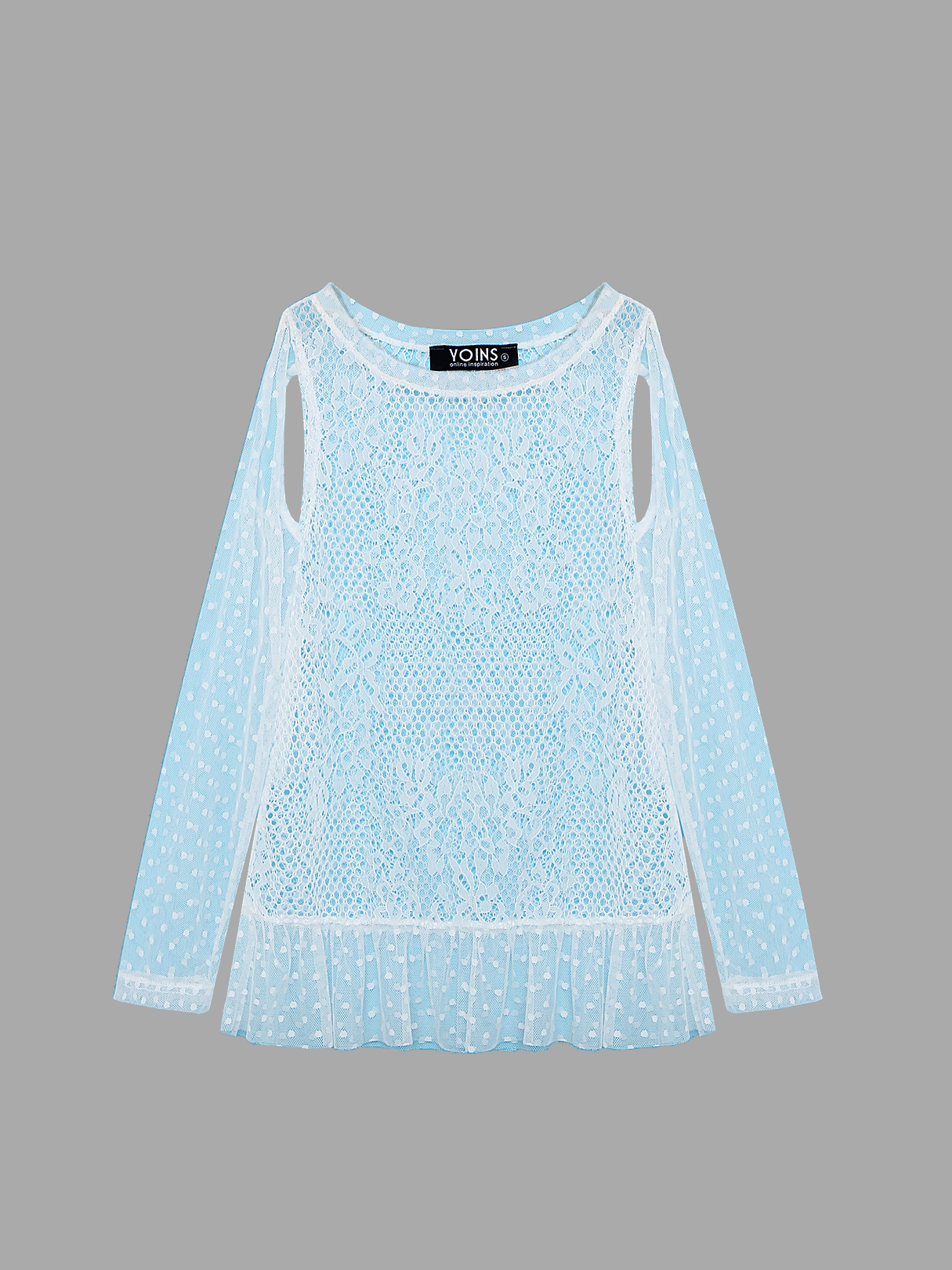 Cut Out Long Sleeves Lace Top in White