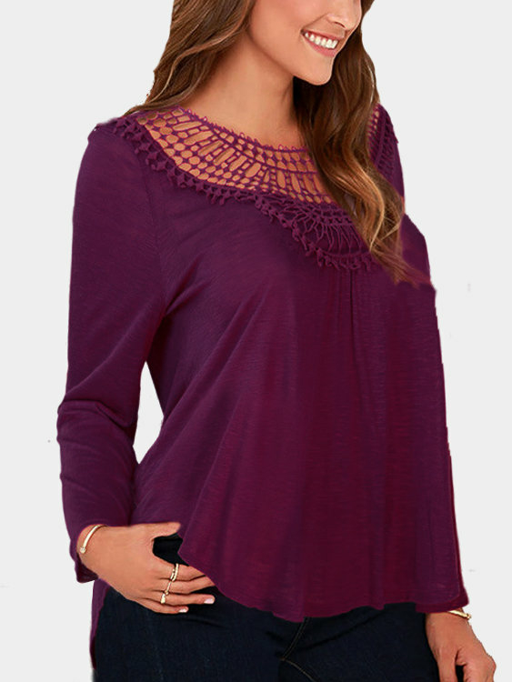Purple Red Loose Hollow Out Round Neck Blouse waugh e put out more flags
