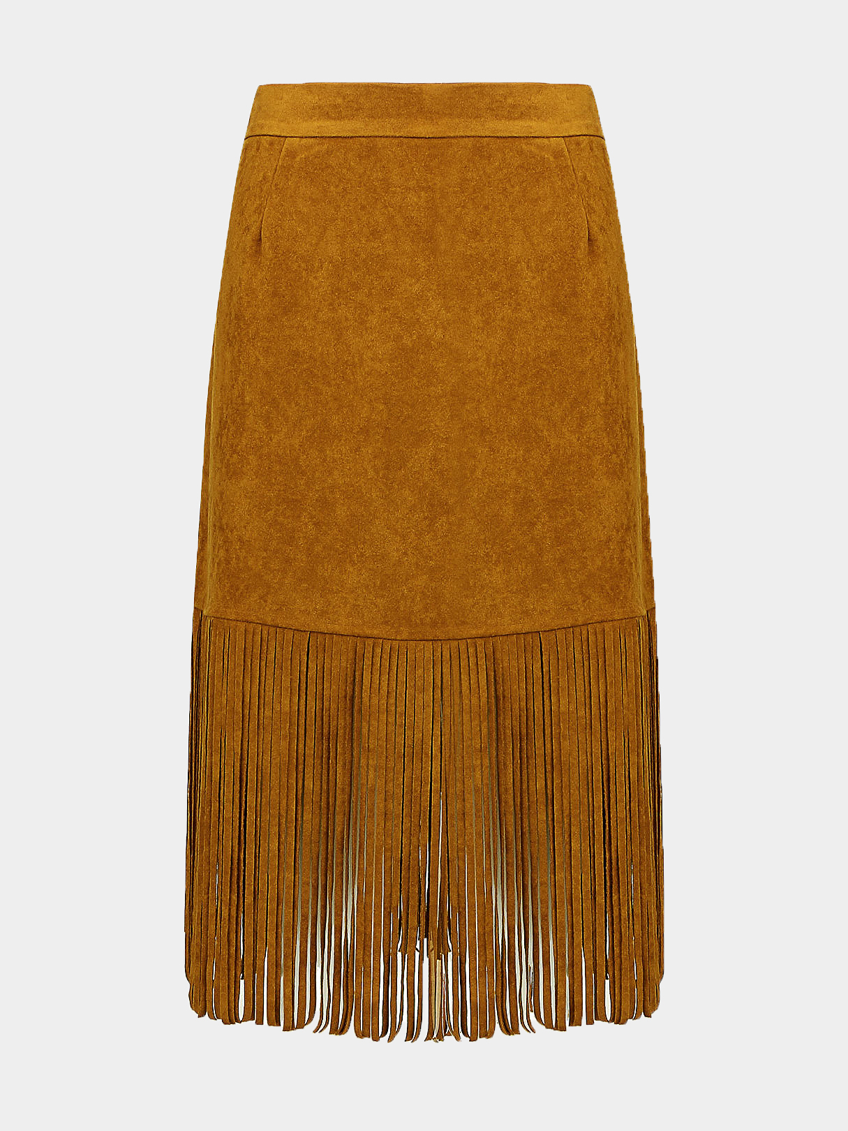 Plus Size Fringed Suede Skirt