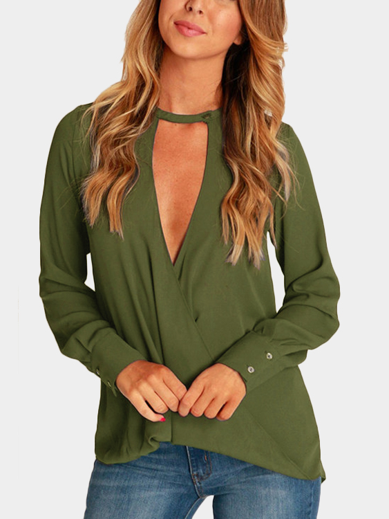 Green Wrap Front Deep V-neck Blouse все цены