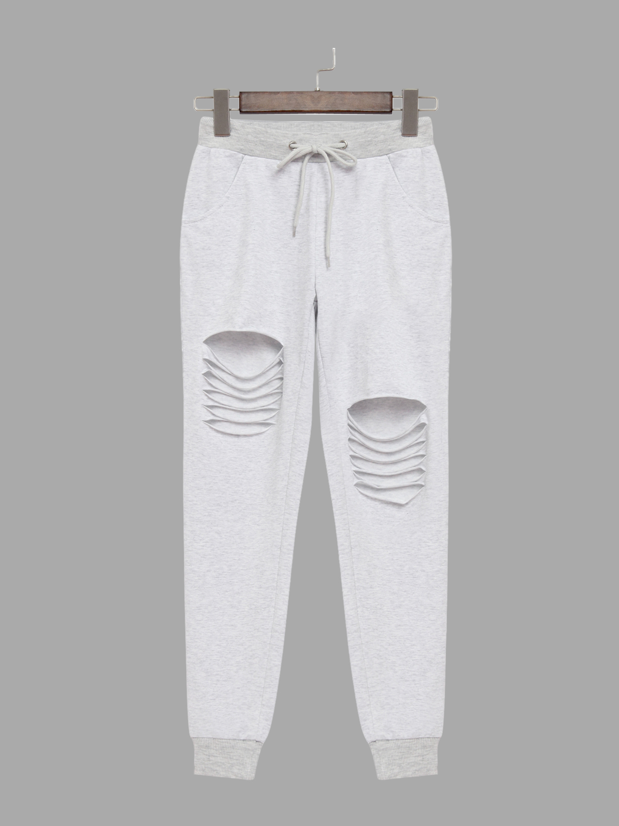 Grey Two Side Pockets Drawstring Waist Sport Trousers blue fashion two side pockets sport trousers