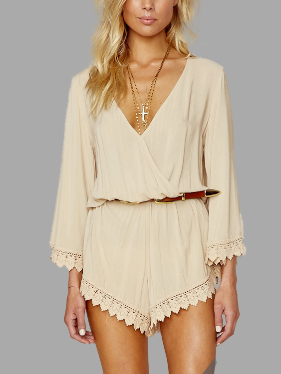 Beige V-neck Lace Trim Sexy Playsuit pink sexy v neck lace up design playsuit