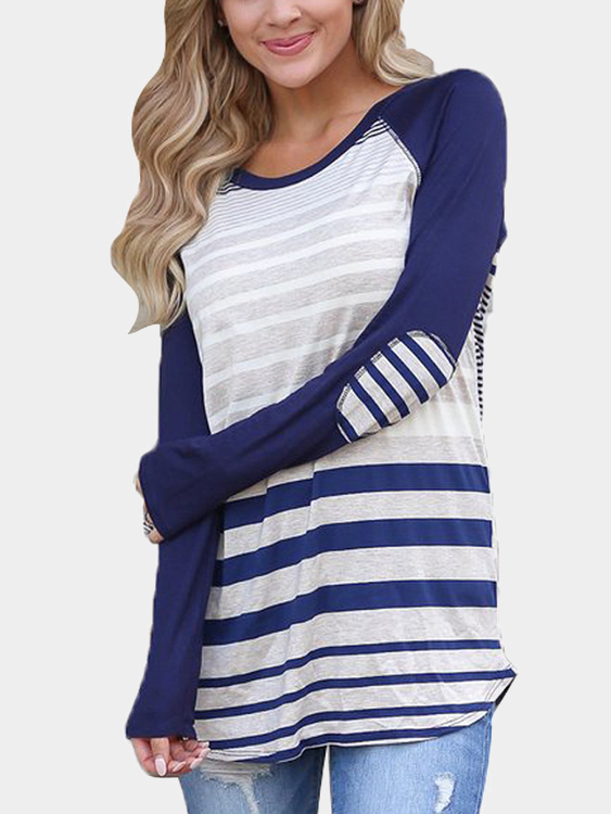 Blue Stripe Pattern Long Sleeves Curved Hem T-shirt blue stripe stitching round neck long sleeves t shirt