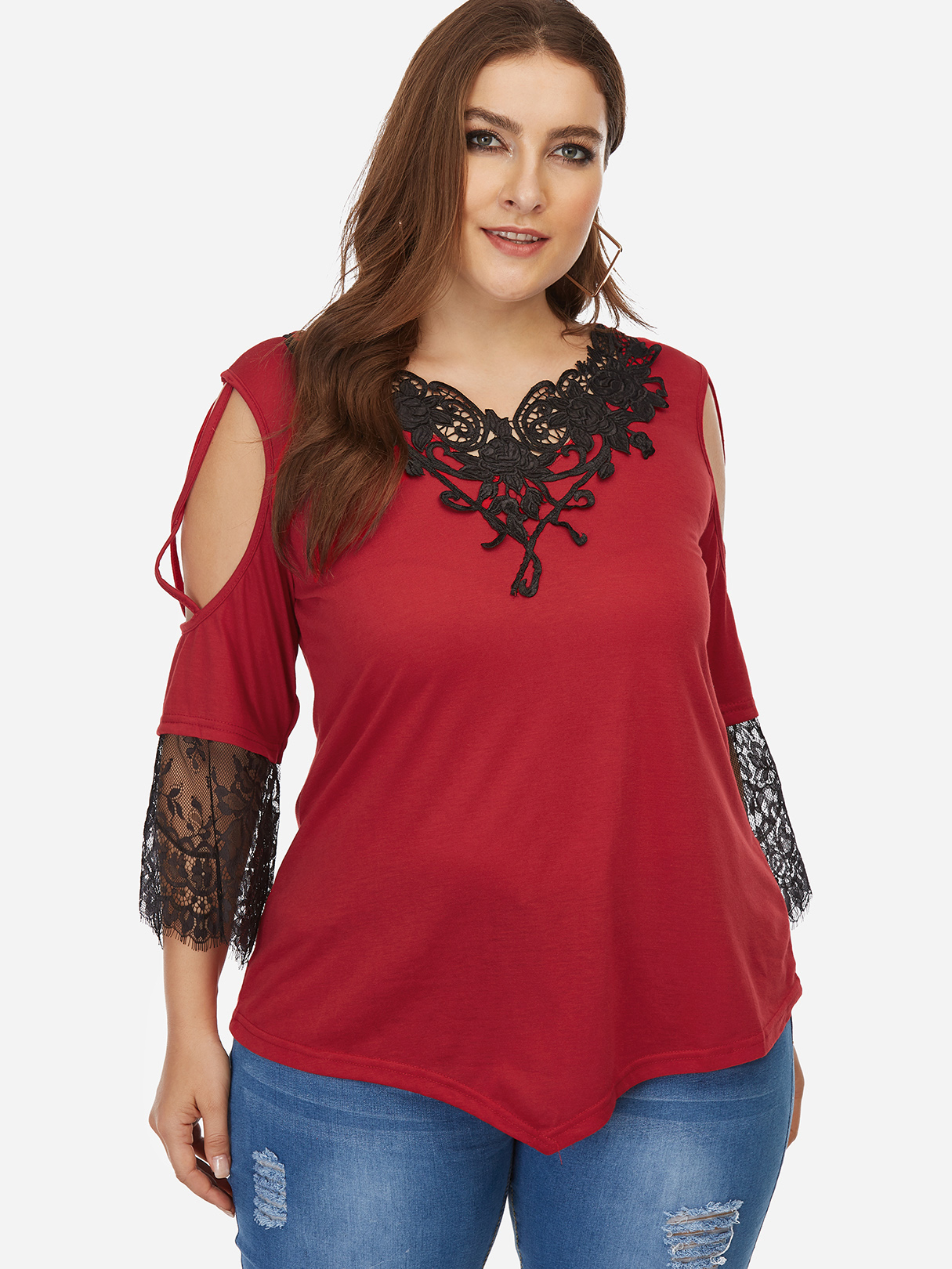Red Hollow Out V-neck Half Sleeves Crochet Lace Blouses pink lace details v neck half sleeves irregular hem blouses