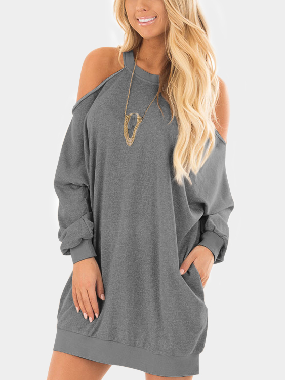 Grey Cold Shoulder Long Sleeves Sweatshirt Dress