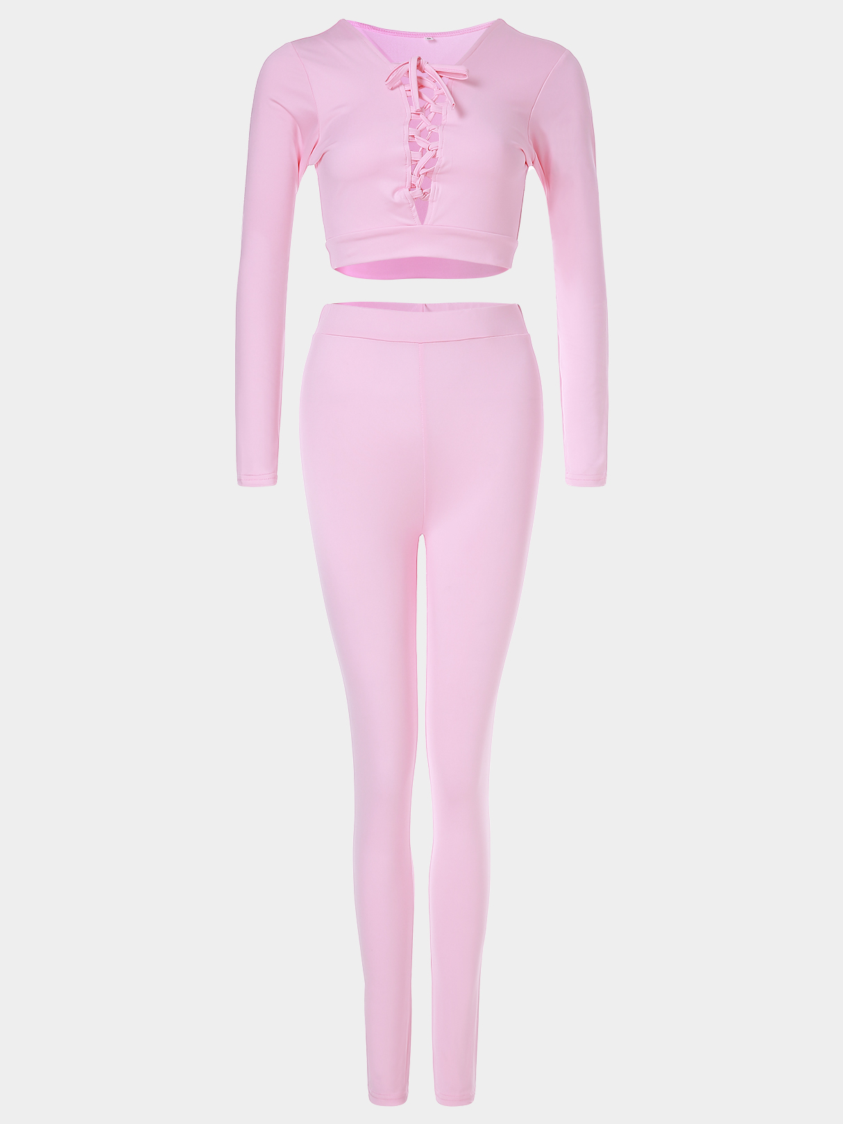 Active V-neck Lace-up Design Silk Material Tracksuit in Pink pink sexy v neck lace up design playsuit