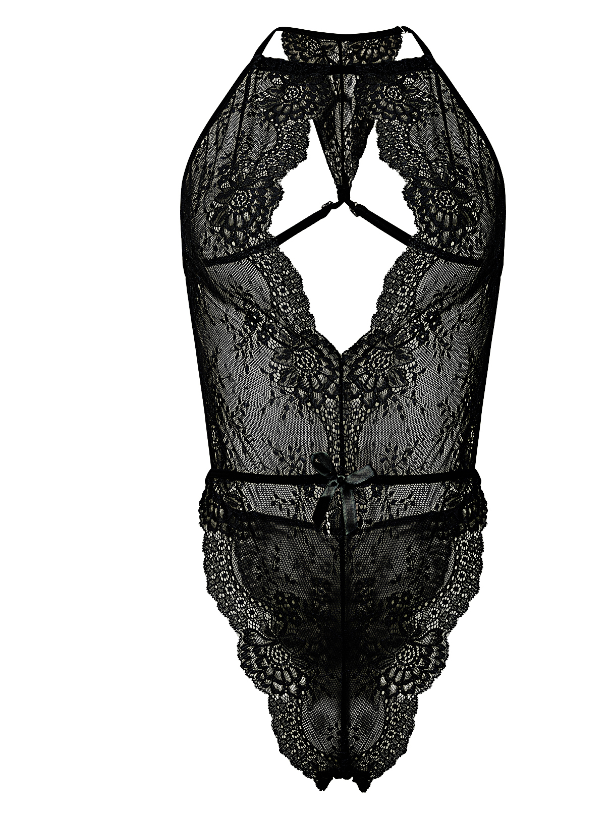 Sexy Bodycon Halter Lace Lingeries in Black