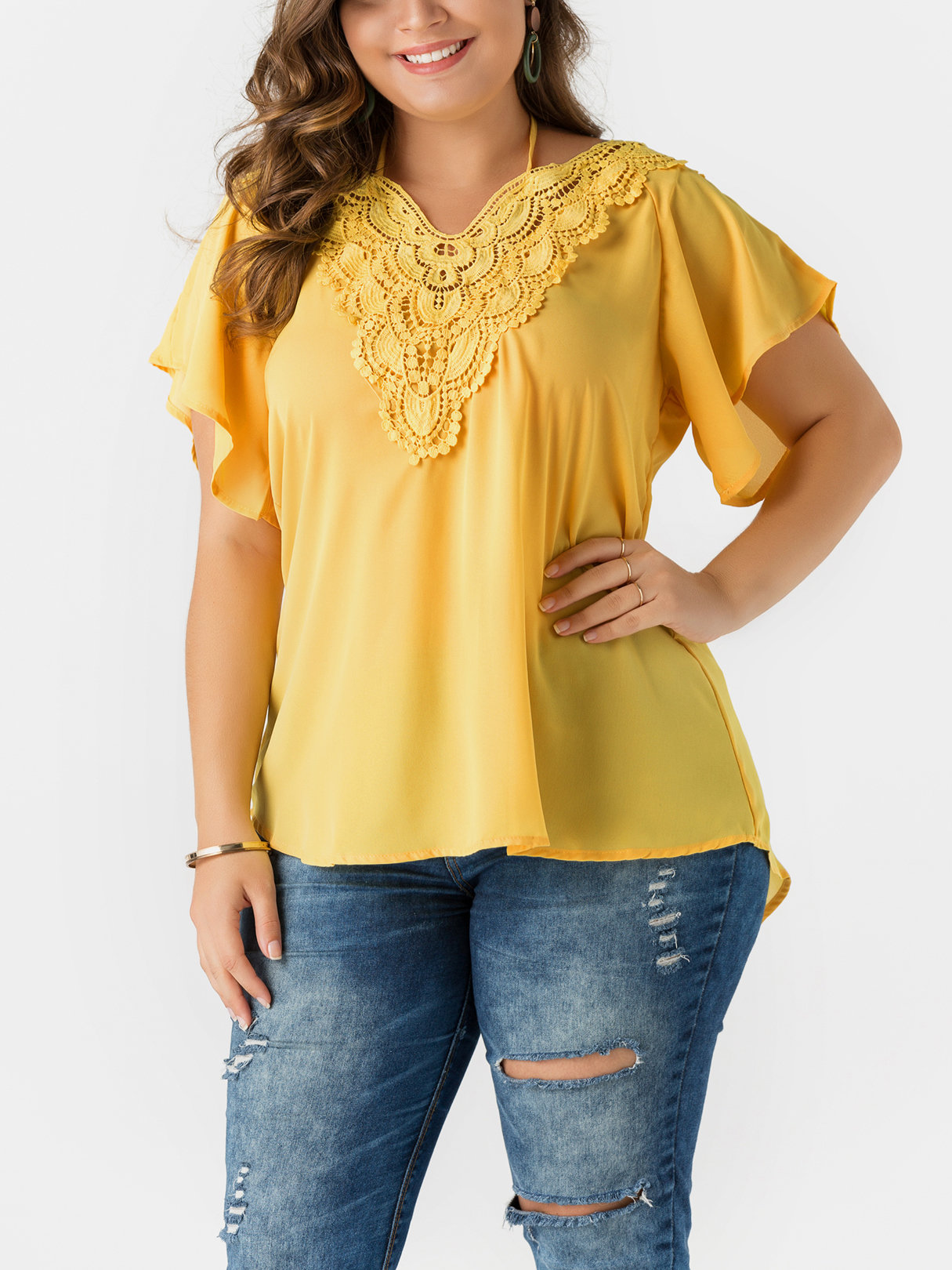 Yellow Self-tie V-neck Bell Sleeves Lace Blouses