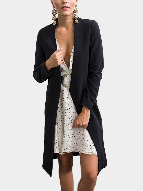 Black Chimney Collar Open Front Long Sleeves Coat black open front sleeveless cape coat