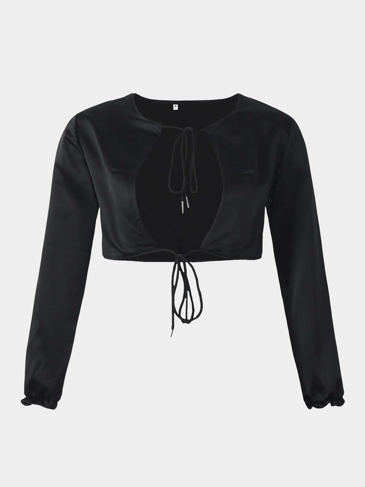 Sexy Cutout Lace-up Front Crop Top in Black fashion lace up hollow front crop top in black