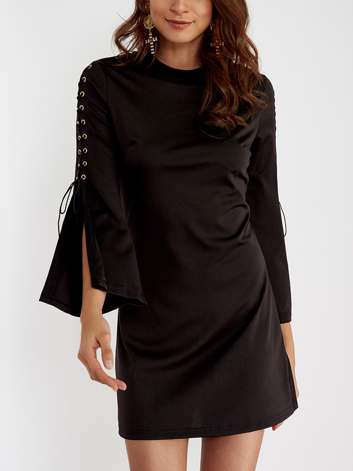 Black Lace-up Design Flared Sleeves Zipped Back Mini Dress lace insert flared sleeves mini dress