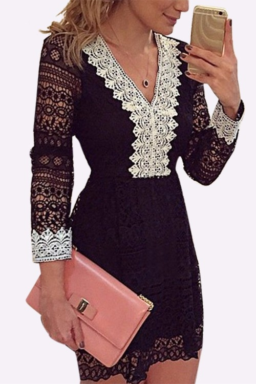 Sexy V-neck Lace details See-through Mini Dress