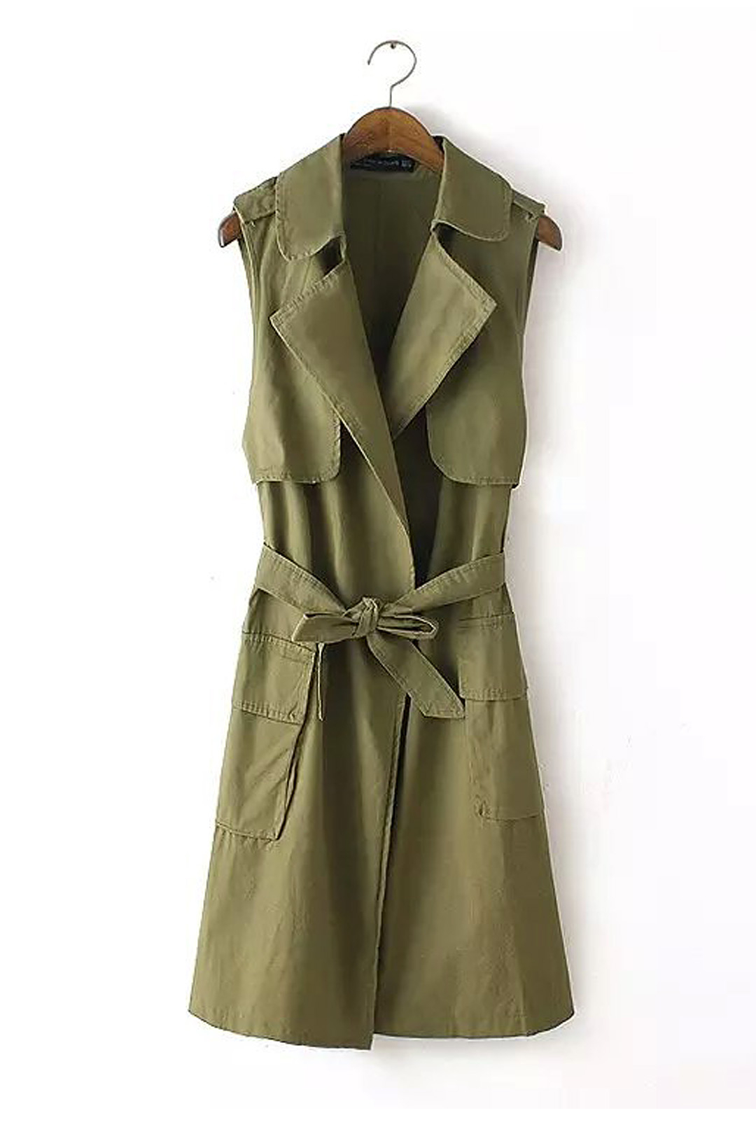 Army Green Longline Gilet with Selt Tie