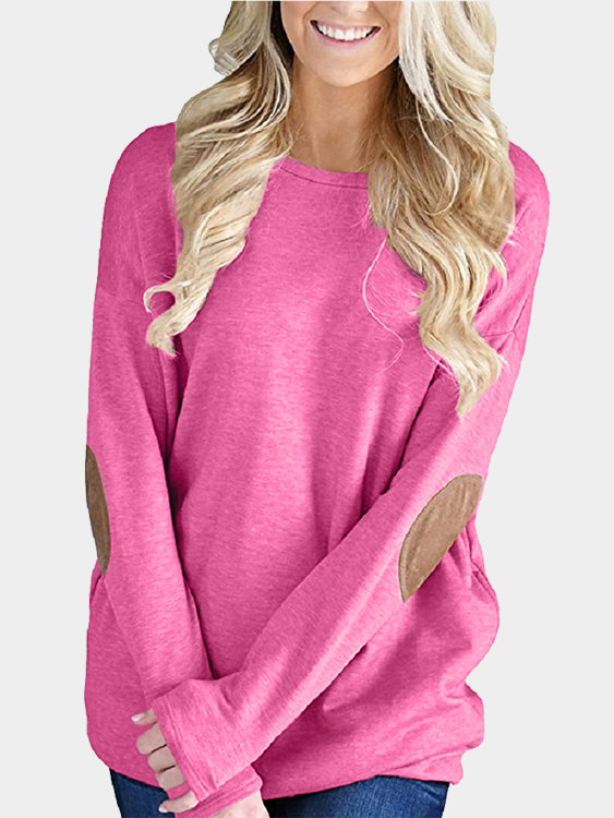 Rose Elbow Patch Round Neck Long Sleeves Top