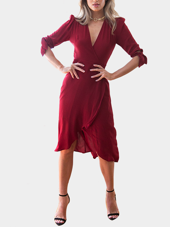 Burgundy V-neck Irregular Hem Self-tie Dress