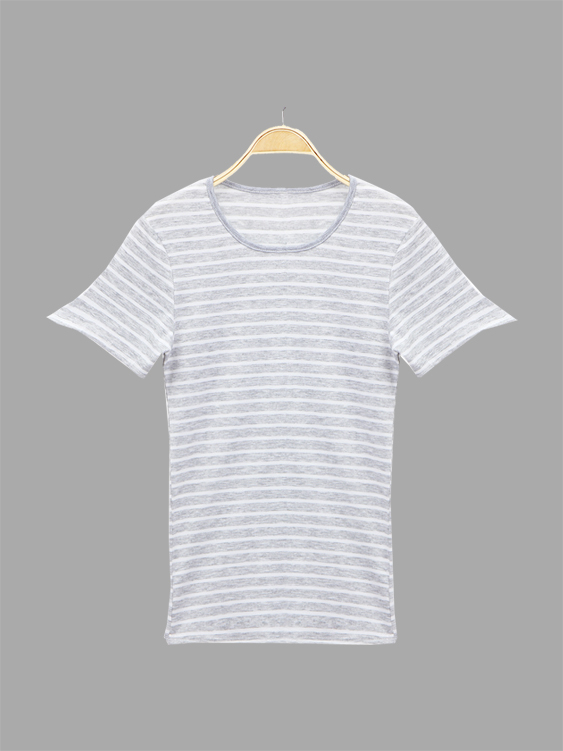 Grey and White Stripe Pattern Casual T-shirts