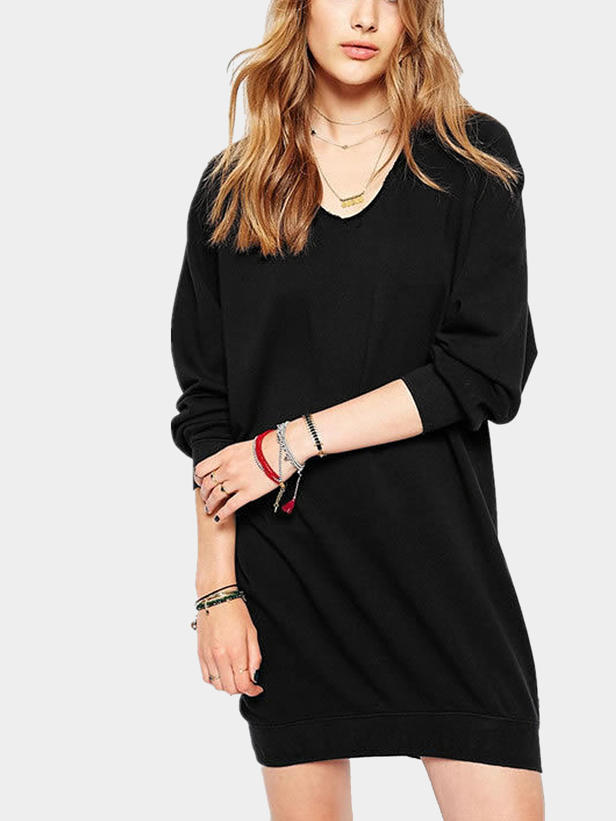 Long Sleeve V neck Sweater Dress