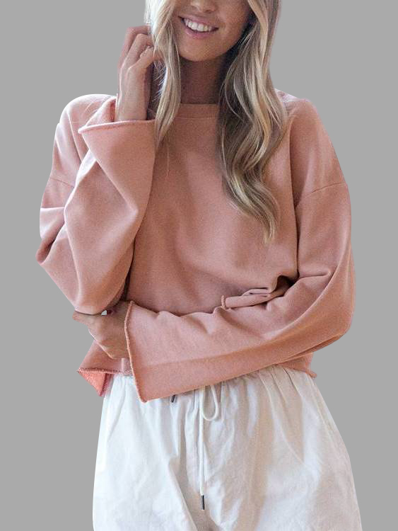 Light Pink Simple Long Sleeves Sweater light grey simple long sleeves sweater