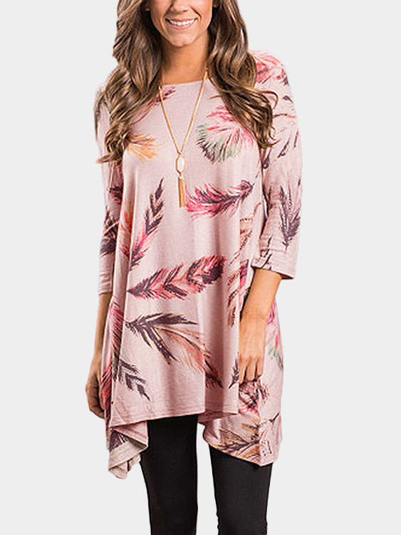 Pink Random Leather Print Round Neck 3/4 Length Sleeves Dress