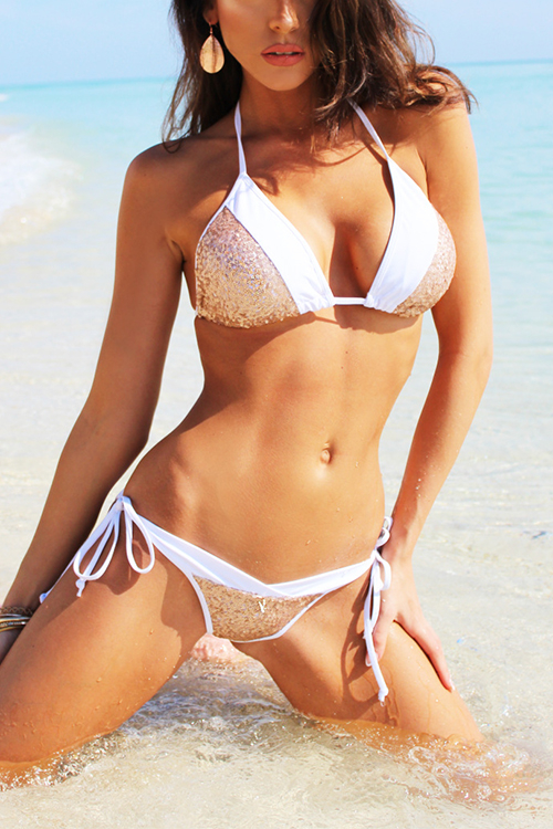 Gold Sexy Self-tie Sequins Embellished Swimwear