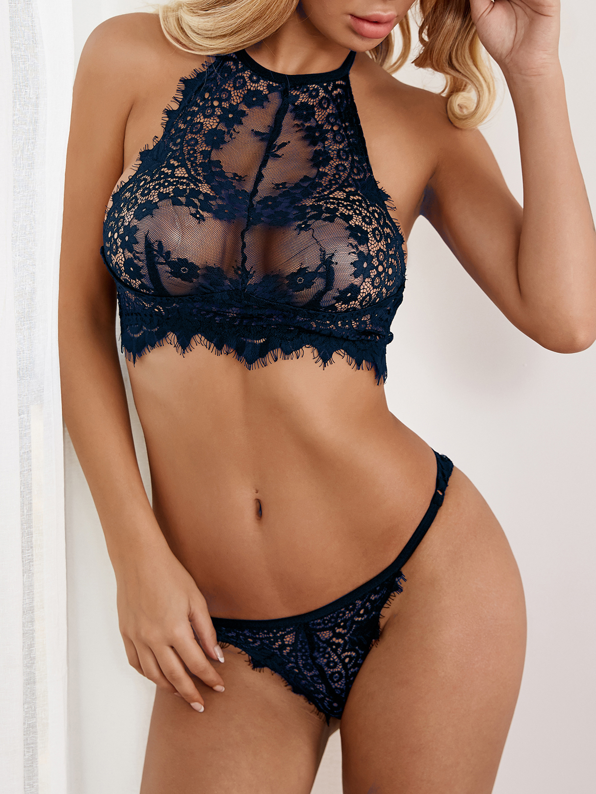 Dark Blue Sexy Delicate See-through Eyelash Trim Halter Lingerie Set without Stockings sexy black lace lingerie set with no falsies