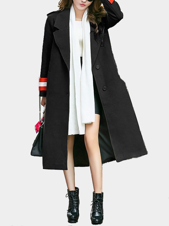 Black Lapel Collar Maxi Trench Coat With Shoulder Board grey lapel collar duster coat with side pockets