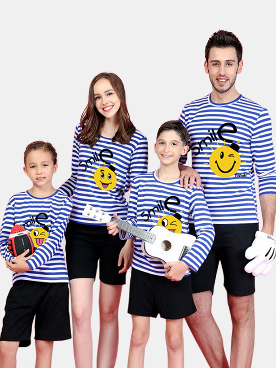 Family Look Round Neck Stripe Pattern Matching Tops in Blue